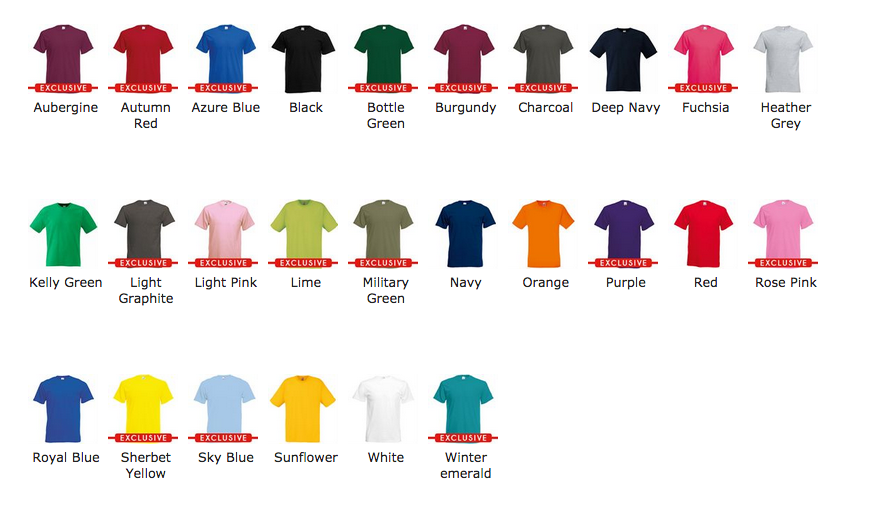 TSHIRT-COLOURS