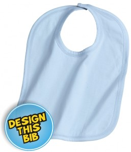 Baby blue bib with embroidery | East London Printers