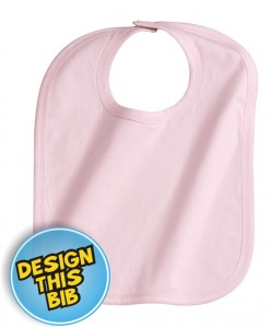 Baby pink bib with embroidery | East London Printers