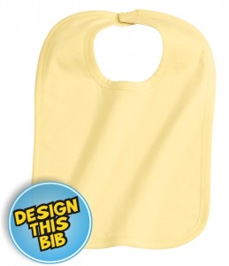 Yellow bib with embroidery | east London Printers
